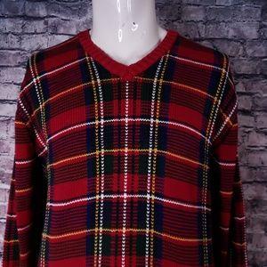 Ralph Lauren Polo V-Neck Tartan Plaid Sweater, XL